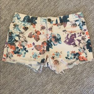Free people floral jean shorts